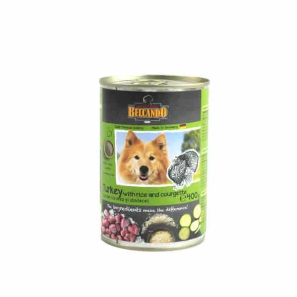 کنسرو سگ بالغ بلکاندو با طعم بوقلمون و برنج و کدو سبز